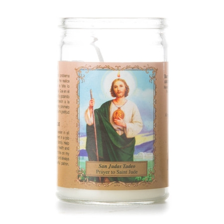 Small San Judas Prayer Candle, White - Candle Prayer