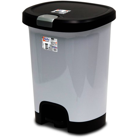 Hefty 7-Gal Textured Step-On Trash Can with Lid Lock and Bottom Cap, Multiple Colors