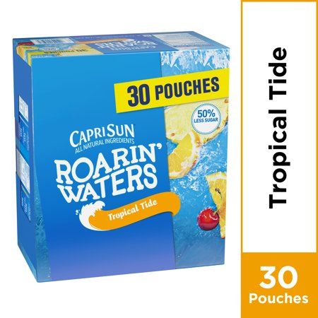 Beverage Pouch - Capri Sun Roarin' Waters Tropical Tide Fruit Flavored Water, 30 ct - 6 fl oz Pouches