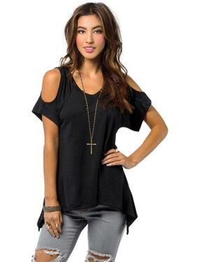 EFINNY Women's Summer Off Shoulder Casual Short Sleeve Loose Blouse