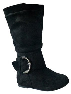 New Girls Kids Buckle Slouch Round Toe Midcalf Winter Shoes Leather/Suede Boots (Toddler) Black, Bel-66, 4 Toddler