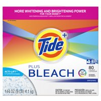 Tide Plus Bleach Powder Laundry Detergent, Original, 80 Loads 144 oz