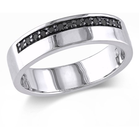 Ultra Diamonds Anniversary Ring - Men's 1/5 Carat T.W. Black Diamond Sterling Silver Anniversary Ring