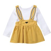 b3bfc94e71c62 Cute Infant Toddler Baby Girls Long Sleeve Rabbit Easter Dress Outfits