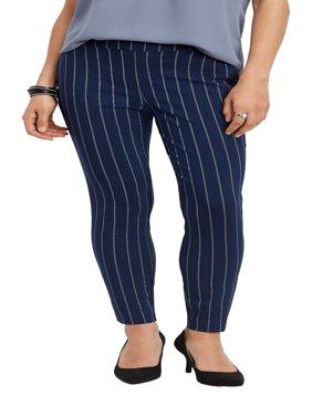 Stripe Print Bengaline Skinny Ankle Pant