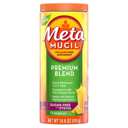 Metamucil Premium Blend, Psyllium Fiber Powder Supplement, Sugar-Free with Stevia, Natural Orange Flavor, 72 Servings