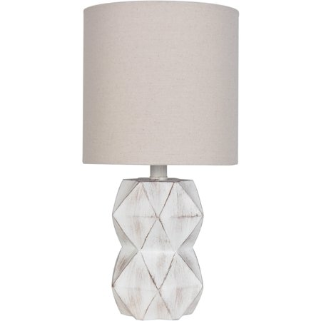 Better Homes Gardens White Wash Faceted Faux Wood Table Lamp