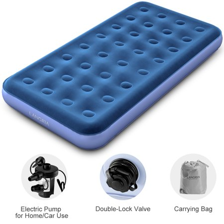 Langria Camping Air Mattress Inflatable Single High Airbed