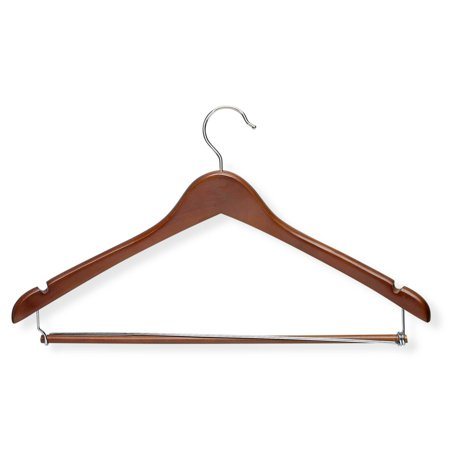 Honey Can Do Contoured Suit Hanger with Locking Bar, Cherry, 6pk