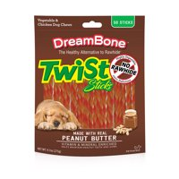 DreamBone Peanut Butter Twist Sticks Dog Chews, 50-Count