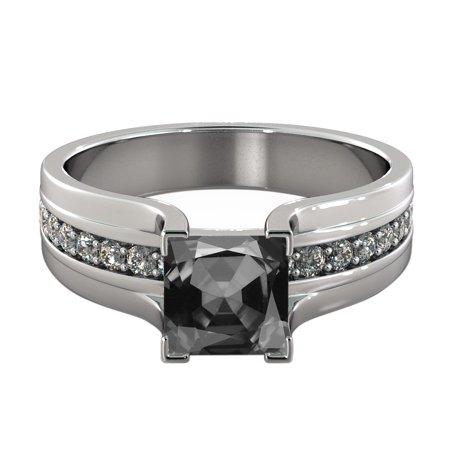 - 2.20 CTW 14K White Gold Black Diamond Ring with Diamonds Bridge Vintage Promise
