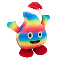 """Holiday Time Fluffy Colorful Poop Emoji with Santa Hat, 8"""""""