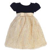 abca706da Little Girls Black Gold Glitter Velvet Corded Tulle Occasion Dress 2T-6