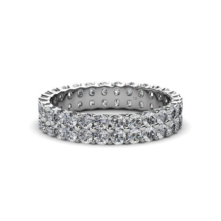 TriJewels Round Lab Grown Diamond Womens Common Prong Double Row Eternity Ring Stackable (VS2-SI1, G) 2.30 ctw to 2.70 ctw 14K White Gold.size 6.75