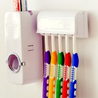 Automatic Toothpaste Dispenser + 5 Toothbrush Holder Set With Wall Mount Stand Bathroom Accessories Home Decor