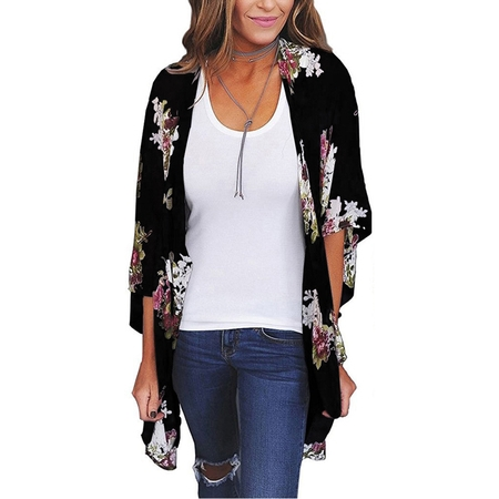 Women's 3/4 Sleeve Kimono Cardigans for Women, Lightweight Jackets for Women, Black Printed Flyaway Cardigans for Women, S (Coogi Coats)