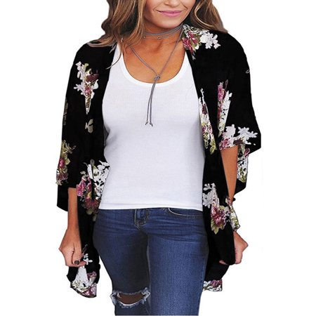 Women's 3/4 Sleeve Kimono Cardigans for Women, Lightweight Jackets for Women, Black Printed Flyaway Cardigans for Women, S