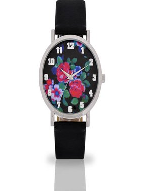 Women's Black Floral Dial Watch, Faux Leather Band