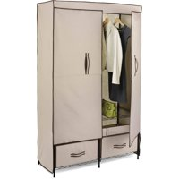 Honey Can Do Double-Door Closet Storage with Two Drawers, Beige/Brown