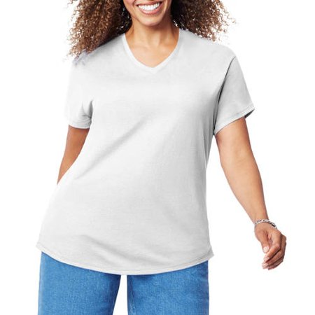 Ladies White Eclipse T-shirt (Women's Plus Size Short Sleeve V-Neck T-shirt )