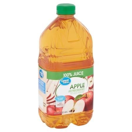Great Value No Added Sweeteners 100% Apple Juice, 64 Fl.