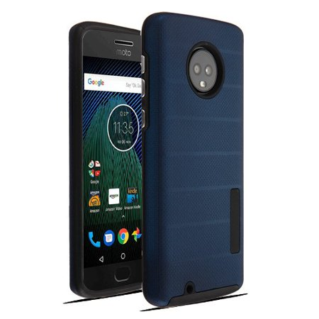 Motorola Moto G6 - Phone Case Shockproof Hybrid Rubber Rugged Case Cover Slim Dots Textured Ink Blue