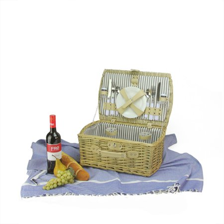 Northlight 2-Person Hand Woven Warm Gray And Natural Willow Picnic Basket Set With Accessories