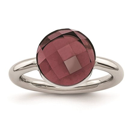 Ladies Chisel Stainless Steel Polished Maroon Glass Promise Ring Size (Maroon Round Ring)