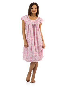 03059fa4a5 Product Image Casual Nights Women s Smocked Lace Short Sleeve Nightgown