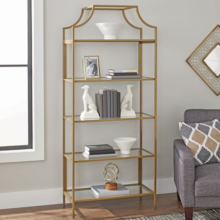 "Better Homes & Gardens 71"" Nola 5-Tier Etagere Bookcase, Gold Finish"