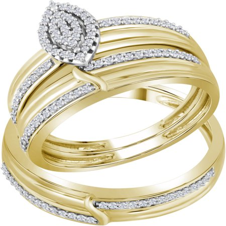 10k Yellow Gold Natural Diamond His & Hers Matching Trio Wedding Engagement Bridal Ring Set .33 Ctw size- 5.5 - Golden Yellow Natural