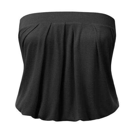 Doublju Wowen's Solid Natural Pleated Tube Top BLACK - Red Girls Top