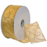 Morex Ribbon, Swirl Wired Sheer Glitter Ribbon, 2-1/2 in x 50 yd, Gold