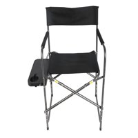 Ozark Trail Director's Chair with Foldout Side Table, Black