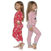 Prestigez Girls 4 Piece Fancy Cotton Pajamas Sets, Penguin and Reindeer, Size: 7-8