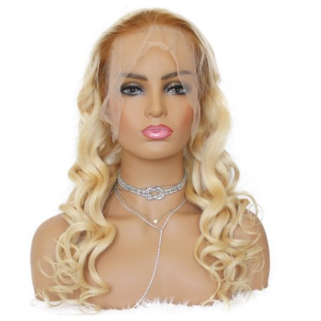 - AISOM Lace Frontal Human Hair Wigs Brazilian Loose Wave Hair 613 Blonde Color 150% Density, 24