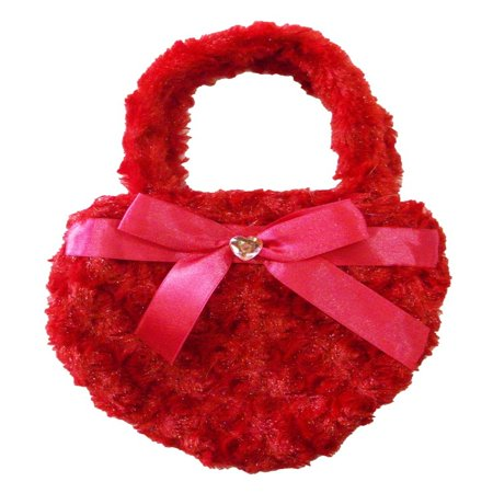 - Girls Red Fuzzy Velvet Sparkle Stone Bow Attached Heart Purse
