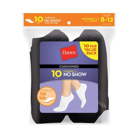 - Women's everyday cushioned no show socks value 10-pack