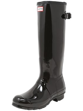 Hunter Women's Original Back Adjust Gloss Black Knee-High Rubber Rain Boot - 8M