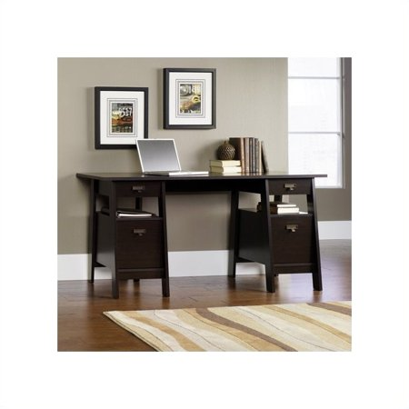 Sauder Stockbridge Executive Trestle Desk Jamocha Wood Finish