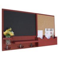 Message Center with Two Mail Slots, Chalkboard, Cork Board, Coat Hooks & Mason Jar