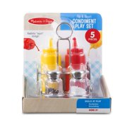 Melissa & doug tip & squirt condiment play food set with metal caddy (5 pcs)