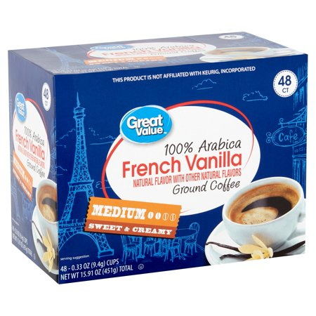 Great Value 100% Arabica French Vanilla Coffee Pods, Medium Roast, 48 Count