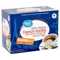 Great Value 100% Arabica French Vanilla Coffee Pods, Medium Roast, 48 Count