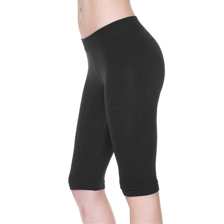 Women Seamless Basic Stretch Capri 17 in Knee Length Legging Bike Shorts - Purple Booty Shorts