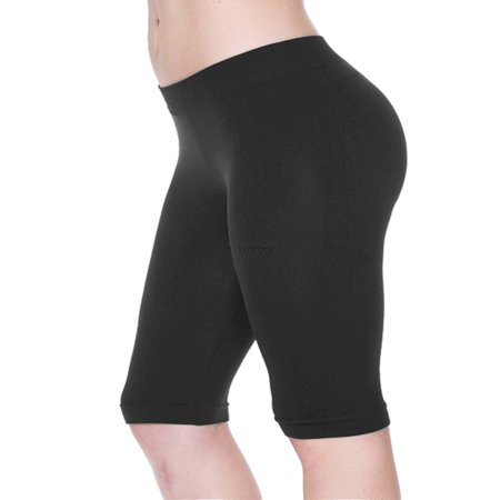Top Bike Shorts - Women Seamless Basic Stretch Capri 17 in Knee Length Legging Bike Shorts
