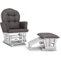 Graco Parker Semi-Upholstered Glider and Ottoman White with Gray Cushions