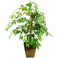 "38"" Artificial Mini Ficus Tree in an Embossed Metal Container with Faux Dirt"