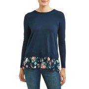 79cb699452cf88 Women's Split Back 2fer Mixed Media Sweater