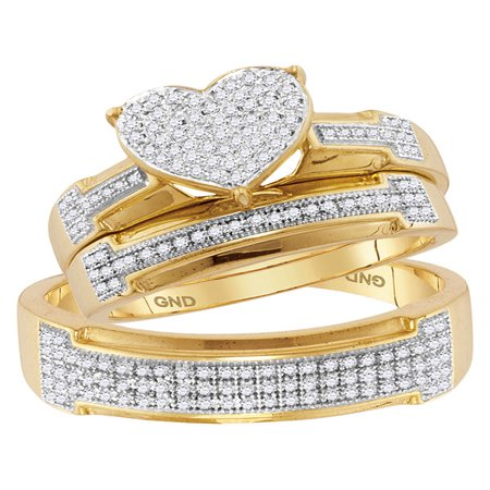 10kt Yellow Gold His & Hers Round Diamond Heart Cluster Matching Bridal Wedding Ring Band Set 1/2 (Heart Wedding Set)
